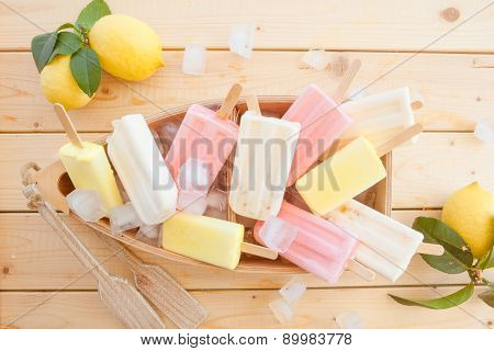 Variety Of Frozen Popsicles