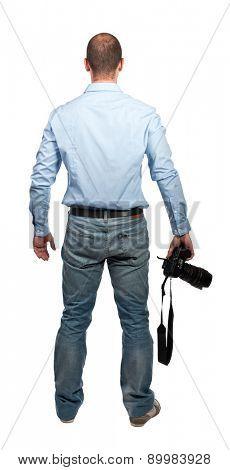 portrait of photografer on white background