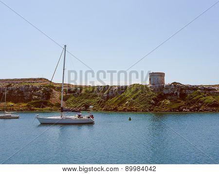 Retro Look View Of Mahon Minorca