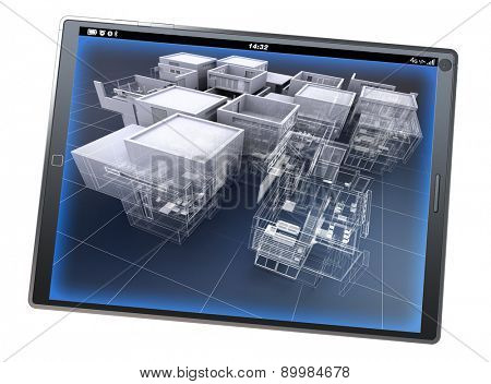 3D rendering of a tablet pc with an architecture model, partly finished and partly with wireframe