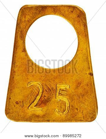 Ancient Brass Cloakroom Label With Number 25