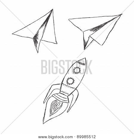 start, up, launch, vector, illustration, set, sketch