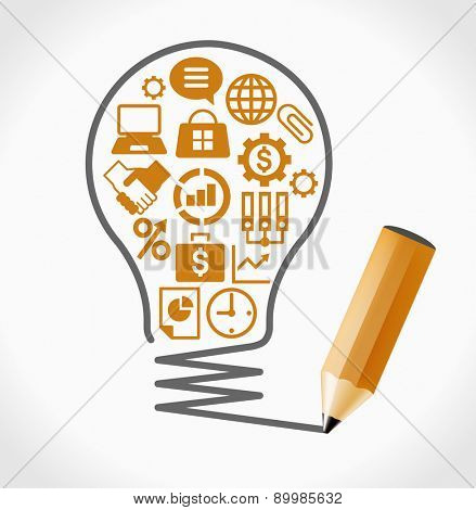 Business icons set. Concept of productive business ideas. Lightbulb with business icon and pencil. File is saved in AI10 EPS version. This illustration contains a transparency