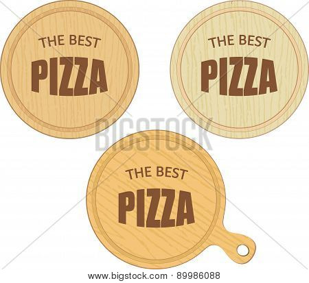 Empty Round Cutting Boards With Pizza Restaurant Label Eps10