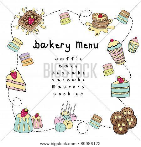 Bakery Doodle Menu Bakery White