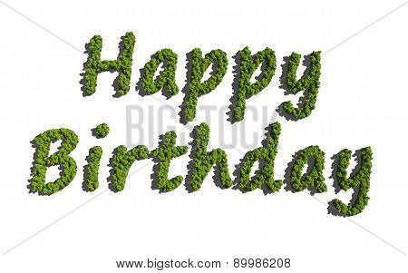 Happy Birthday Create By Tree With White Background
