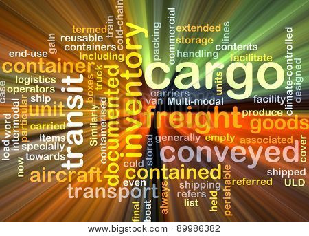 Background text pattern concept wordcloud illustration of cargo freight glowing light