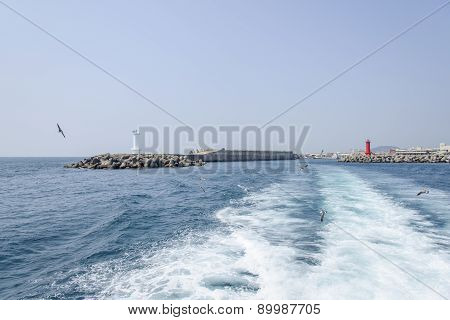 Seawall With Lighthouses