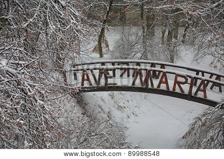 Original Snow-covered Bridge In City Park