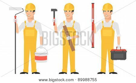 Builder holding instruments hammer roller level