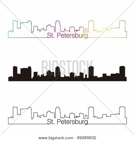 St. Petersburg Skyline Linear Style With Rainbow