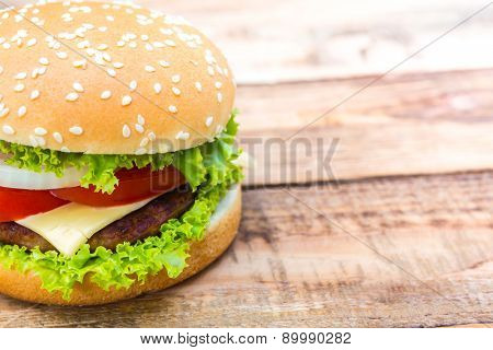 Hamburger on wood table