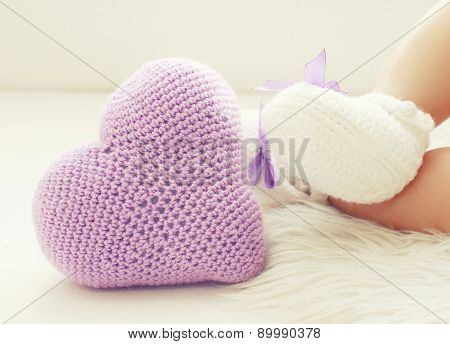 Knitted Heart And Legs Baby In White Bootees