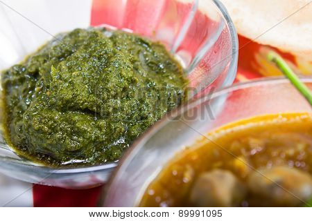 Spicy Green Chutney, Indian Dish Concept