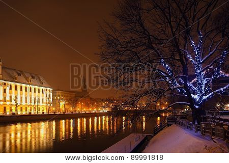 Christmas Lights In The Night City