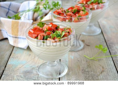 Panna Cotta With Cauliflower Salad With Tomato And Basil.selective Focus