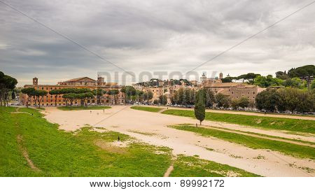 Panorama Of Rome From Circo Massimo, Italy