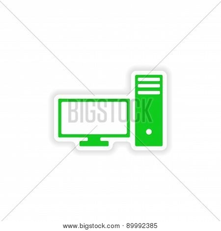 icon sticker realistic design on paper PC
