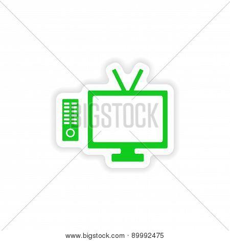 icon sticker realistic design on paper tv