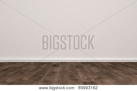 Home Interior of Empty Room with Plain Undecorated Beige Painted Wall and Light Colored Hard Wood Floor. 3d Rendering.