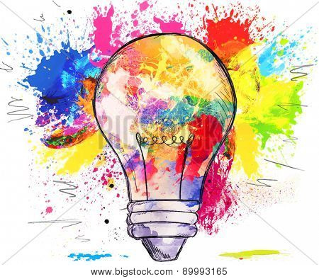 Hand-drawn light bulb over bright colorful blots of paint, on white, concept of creativity and innovation