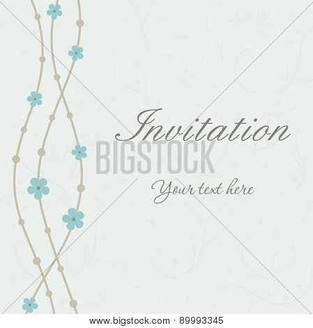 Invitation card with waves and flowers on blue background