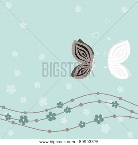 Wedding card with butterflies on blue floral background