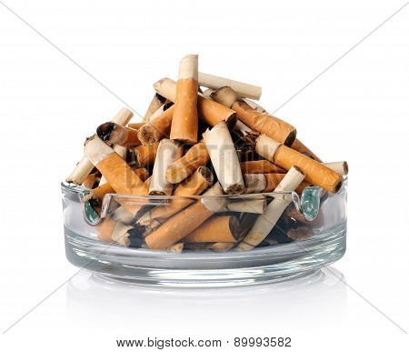 Cigarette Butts In The Ashtray On White