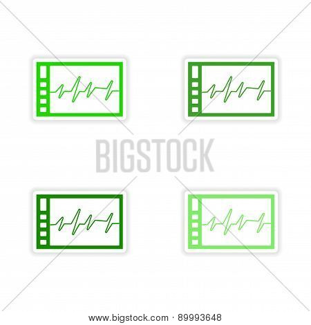 assembly realistic sticker design on paper cardiogram