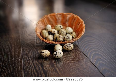Easter Basket With Eggs On Wooden Background