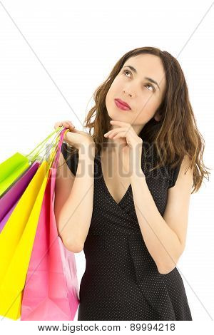 Shopping Woman Looking To Copy Space