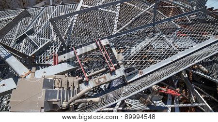 Big Iron Grid And Ferrous Material In The Landfill Of Metallic Objects