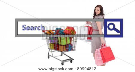 Elegant brown hair posing with shopping bags against search engine