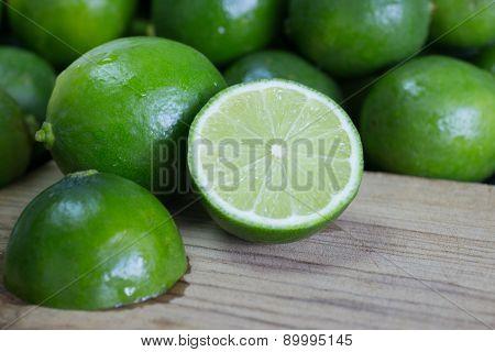 Fresh Tahiti Lime Sliced in Half