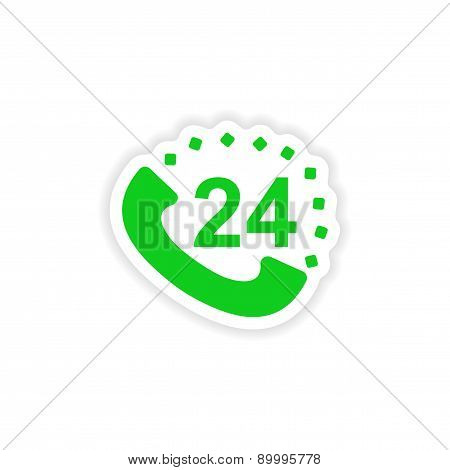 icon sticker realistic design on paper hot line