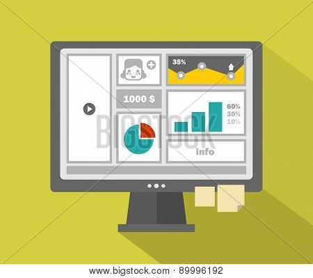 Business website menu with girls face on computer.