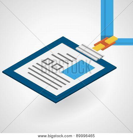 Vector isometric flat illustration of name badge