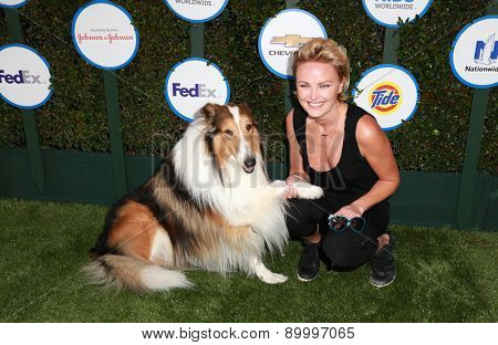 LOS ANGELES - APR 26:  Malin Akerman and dog Lassie at the Safe Kids Day LA at the The Lot on April 26, 2015 in Los Angeles, CA