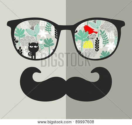 Retro sunglasses with reflection for hipster. Vector illustration of accessory - glasses isolated.
