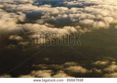 Clouds From The Altitude Of The Aircraft.