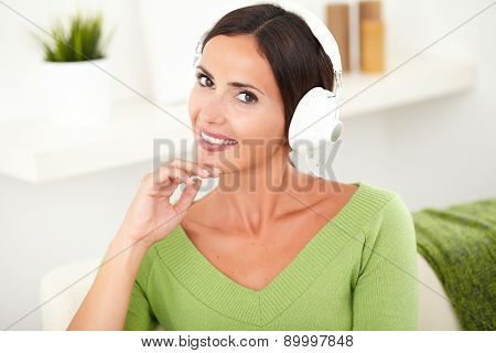 Beautiful Carefree Woman Listening To Music
