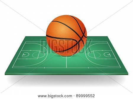 Basketball Icon - Ball On A Green Court. Isolated.