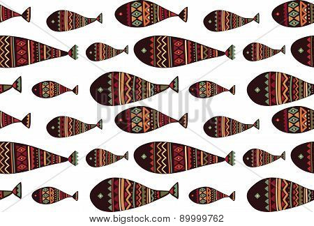 Vector seamless pattern with tribal fish