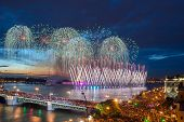 foto of palace  - Crowd on Palace Bridge look at beautiful fireworks at dark night in St - JPG