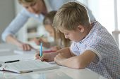 picture of schoolboys  - Schoolboy in classroom writing on notebook - JPG