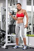 stock photo of lifting weight  - A woman working out on a fitness equipment at the gym - JPG