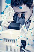 stock photo of scientific research  - Science formula against scientific researcher using microscope in the laboratory - JPG