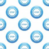 picture of octagon  - Round sign with text STOP in octagon repeated on white background - JPG
