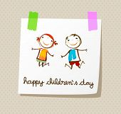stock photo of animated cartoon  - happy children - JPG