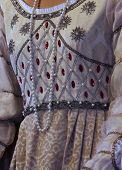 pic of ceremonial clothing  - medieval reenactment with costumed characters and ancient clothes - JPG